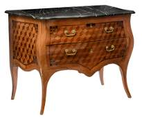 A fine walnut and mahogany Neoclassical commode