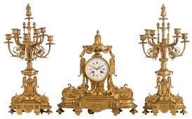 A Belle-epoque gilt-bronze three-piece Neoclassical