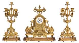 A fine Neoclassical gilt bronze three-piece mantle
