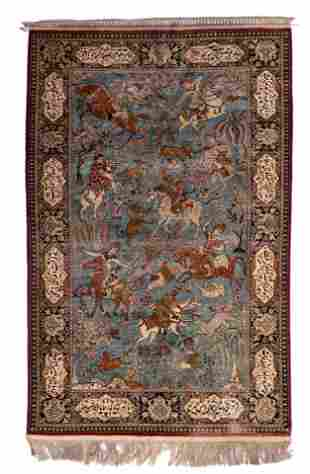 An Oriental woollen rug, decorated with hunting scenes