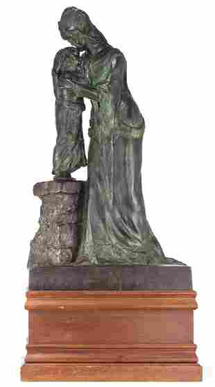 Constant M., motherly love, green patinated bronze on a
