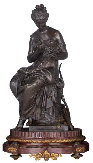 Moreau M., 'Diana', patinated bronze on a rouge