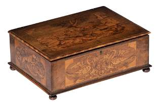 A fine walnut covered box, decorated with marquetry