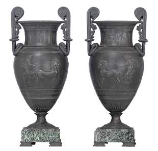 A pair of Ancient Greek style vases, decorated with