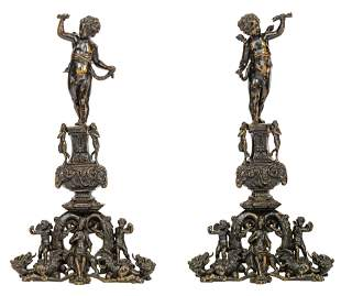 An impressive pair of Renaissance style patinated
