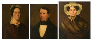 Three 19thC family portraits, 50,5 x 63,5 - 56,5 - 66,5