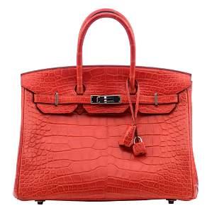 HERMÈS, Birkin 35 handbag, Geranium alligator