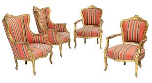 A set of four Louis XV style armchairs, H 96,5 - 110 -