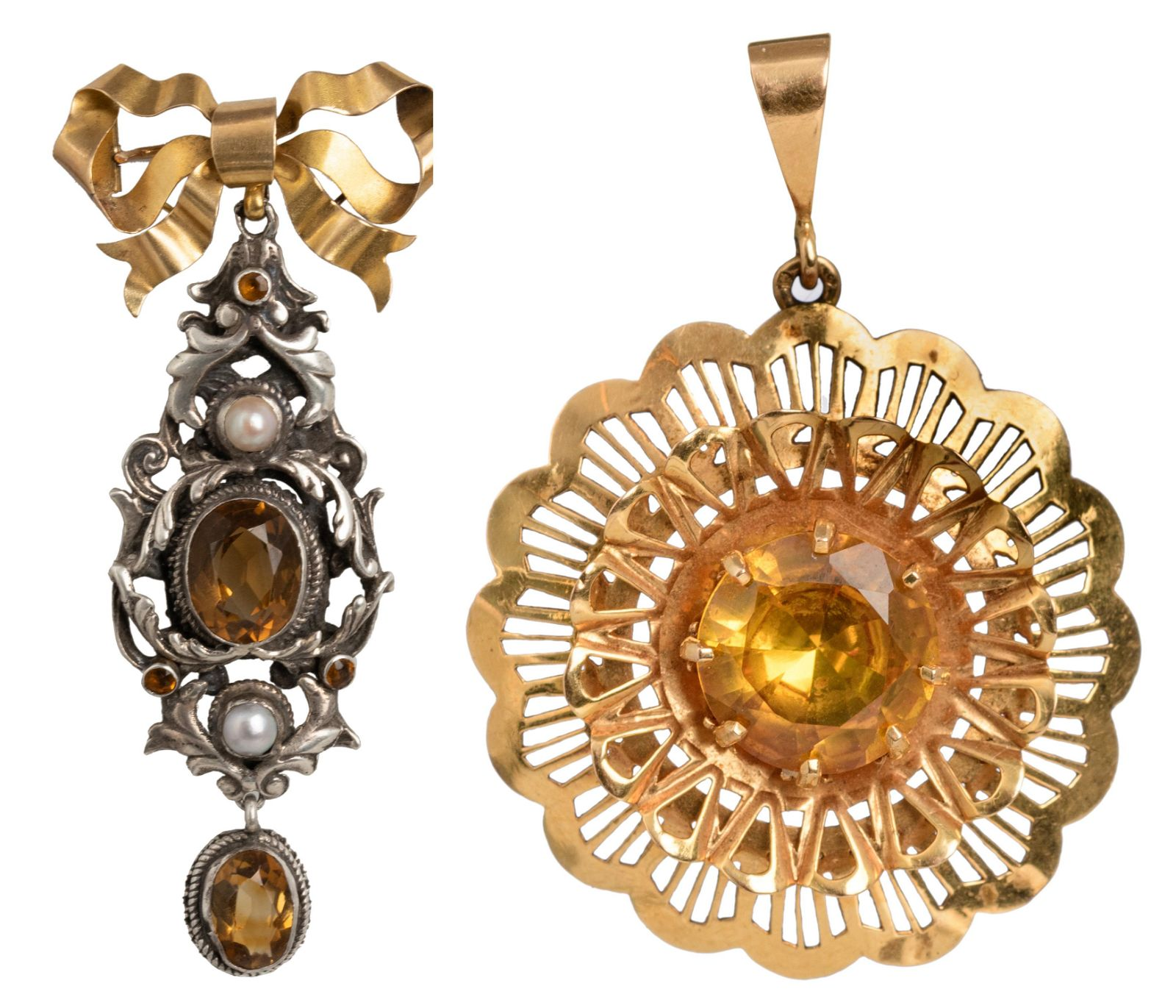 An 18ct gold circular pendant set with a brilliant-cut