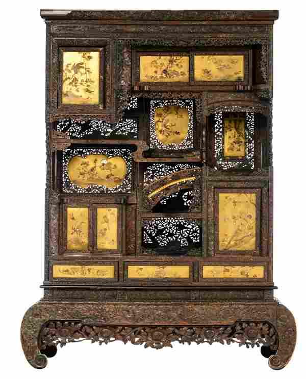 An imposing exotic hardwood Japanese Shibayama Meiji