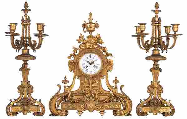 A fine Neoclassical gilt bronze three-piece clock