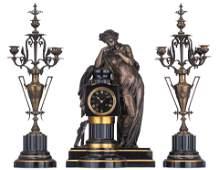 A fine Neoclassical three-piece clock garniture, with a