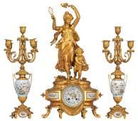 A fine Neoclassical three-piece clock garniture, ormolu