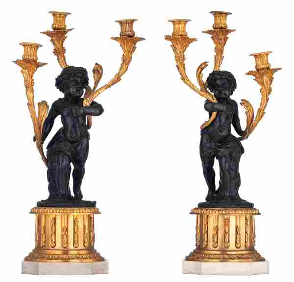 A fine pair of Neoclassical figural candelabras, H 61