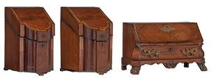A Dutch Rococo miniature secretary desk & a pair of