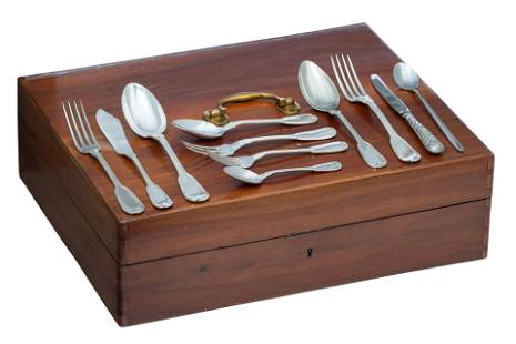 A walnut box containing silver-plated flatware by