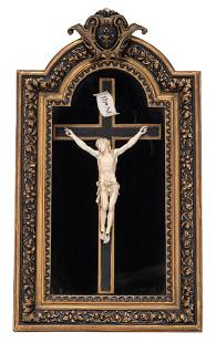 A Baroque ivory Corpus Christi, 17thC, H 22 - W 15