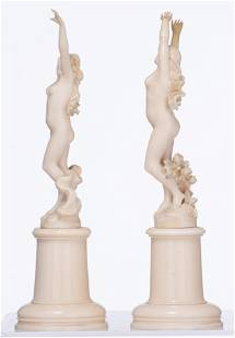 Two late 19thC Paris ivory dancing female nude