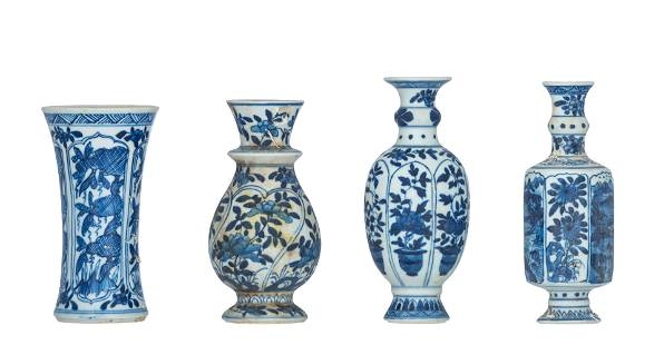 Four blue and white 'Doll's House' miniature vases