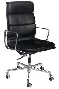 An Eames EA219 softpad armchair with high back, Vitra,