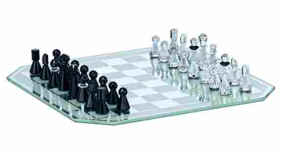 A Swarovski silver crystal chess set in a luxurious