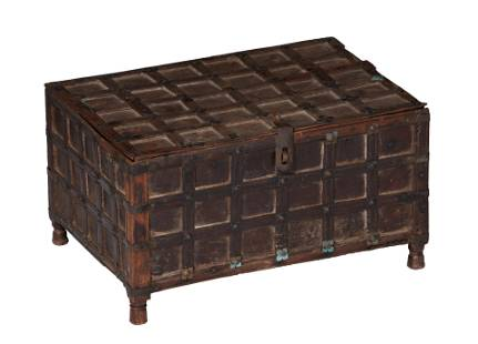 A walnut chest with wrought iron and brass fittings,