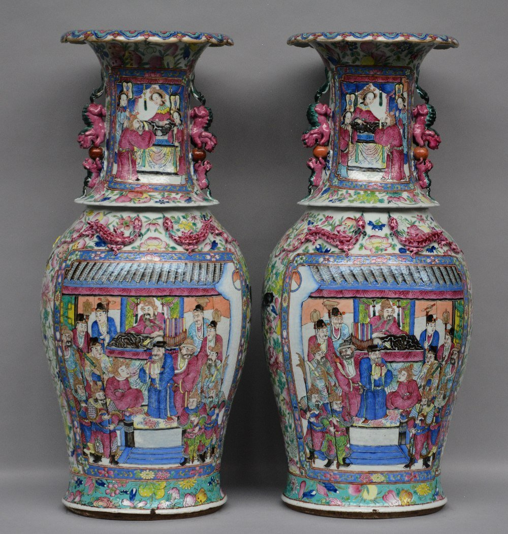 A pair of Chinese impressive famille rose vases,