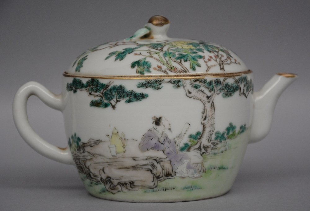 A rare Chinese polychrome teapot, one side decorated