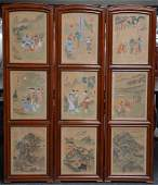 A Chinese three panel screen with nine animated
