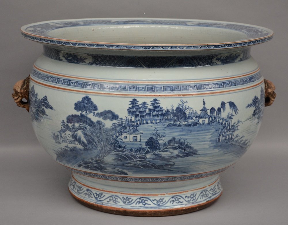 A Chinese blue and white cachepot, decorated with a