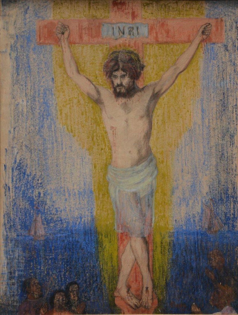 Ensor J., 'Le Crucifié', pencil, pastel, watercolour &