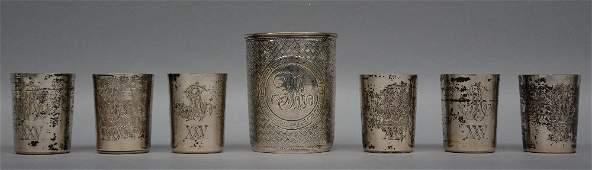 A set of six silver vodka cups Russia 84 zolotniki