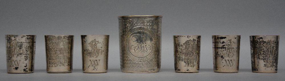 A set of six silver vodka cups, Russia, 84 zolotniki -
