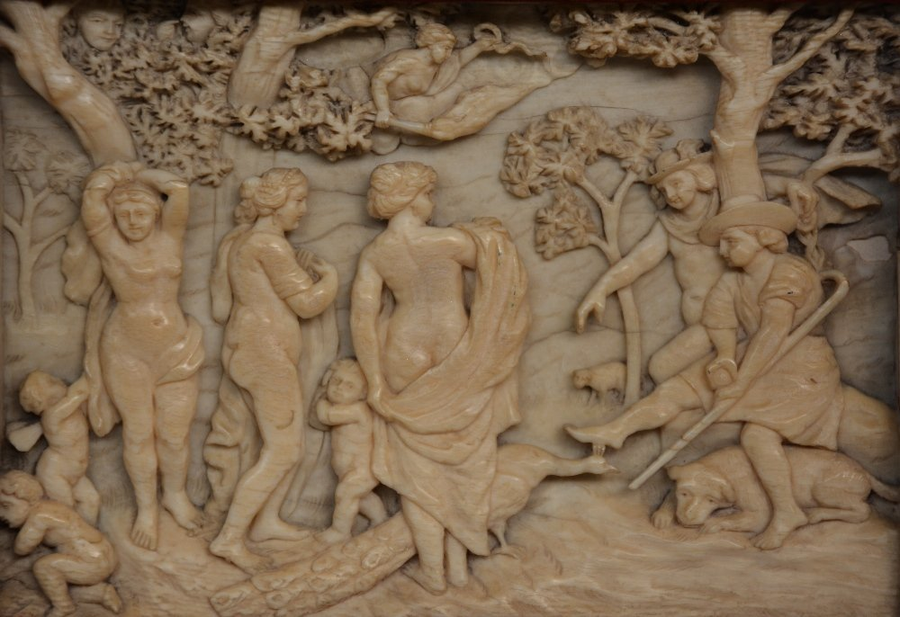 A relief carved ivory plaque, depicting thejudgement