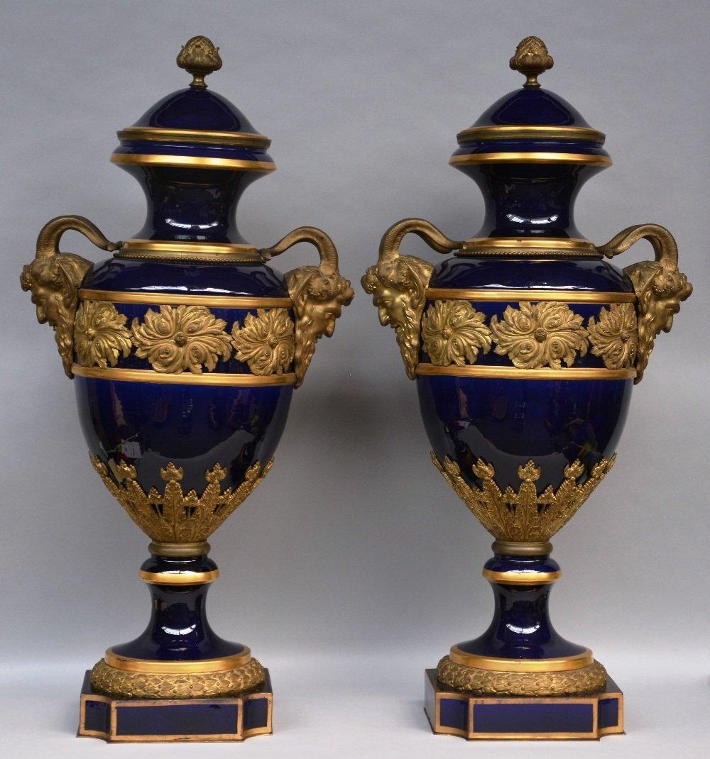 A rare pair of Sèvres porcelain vases with a bleu