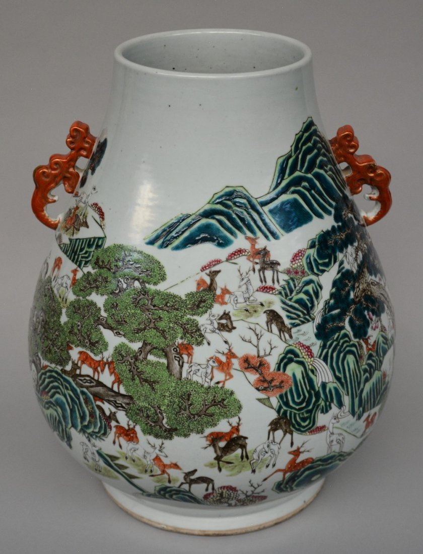 An exceptional Chinese 'one hundred deer' 'hu' vase,