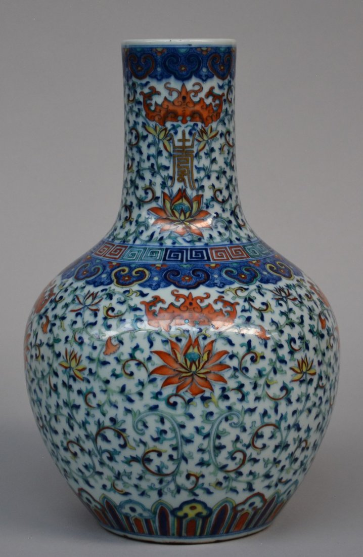 A fine Chinese 'Tianqiuping' vase with doucai enamels: