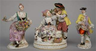 Three 19thC Meissen polychrome decorated porcelain