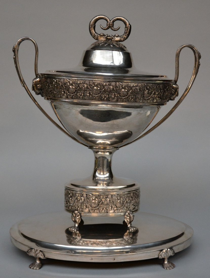 A large silver centerpiece, the inside gilt, probably