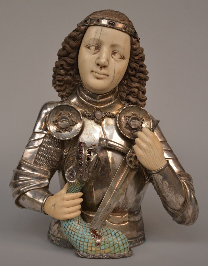 St. George and the dragon, silver, ivory and gem