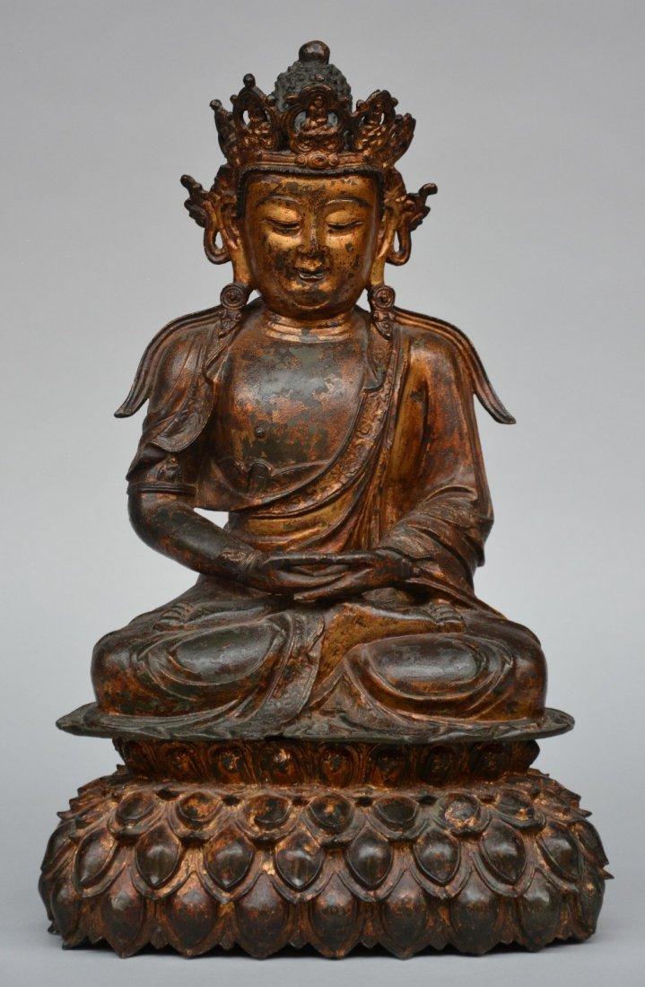 A Chinese gilt bronze Buddha, Ming dynasty, H 53 - W 33