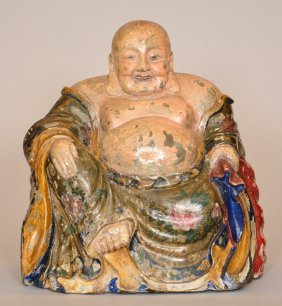 An Oriental Polychromed Wooden Budai Figure, Ca. 1900,