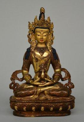 A Tibetan Gilt Bronze Buddha, H 20 Cm