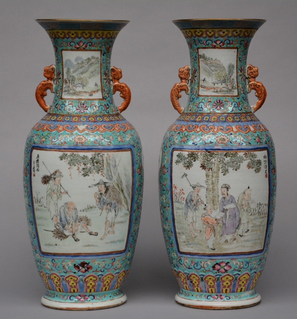 A fine pair of Chinese turqoise ground and polychrome