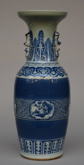 A Chinese Celadon-ground Blue And White Vase, Painted