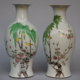 Two Chinese Polychrome Vases, Decorated With Birds On A