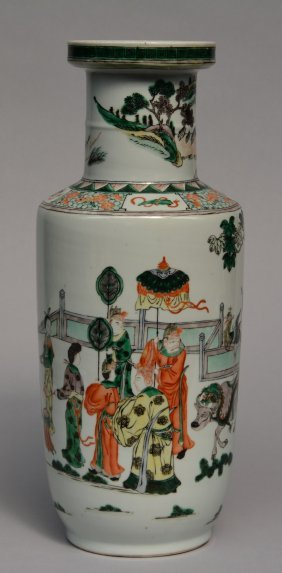 A Chinese Rouleau-shaped Vase, Famille Verte, Decorated