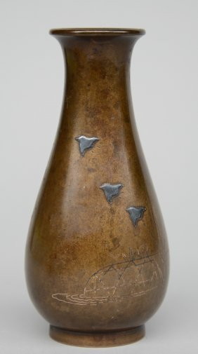 A Japanese Bronze Vase With Silver Inlay, Marked, Late