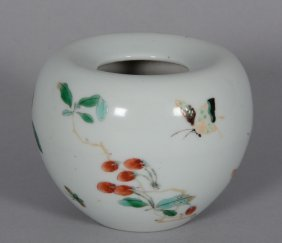 A Chinese Famille Verte Waterpot, Decorated With