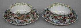A Pair Of Chinese Famille Rose Tea Cups With Saucers In